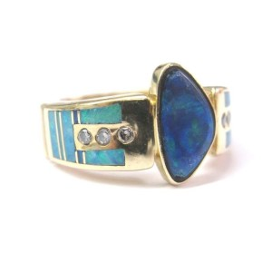 14k Yellow Gold Fine Multi-Colored Boulder Opal Diamond Designer Jewelry Ring