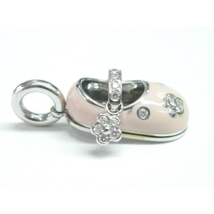 Aaron Basha 18K White Gold Pink Enamel & Diamond Flower Baby Shoe Charm Pendant