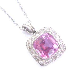 Tiffany & Co. Platinum Pink Sapphire Diamond Legacy Pendant Necklace
