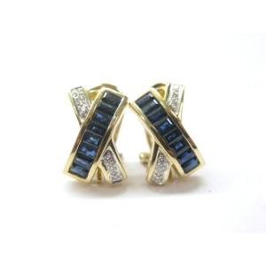 LeVian 18Kt Gem Sapphire Yellow Gold  2.50Ct Diamond Huggie Earrings