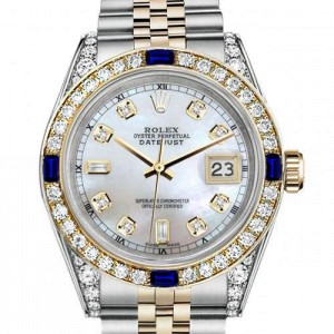 Ladies Rolex 26mm Datejust Two Tone Jubilee White MOP Mother of Pearl Dial Diamond Accen Bezel + Lugs + Sapphire