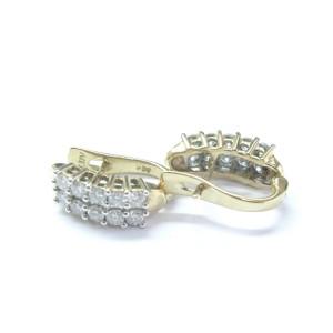 Yellow Gold 20-Stone Round Cut Diamond Huggie Earrings