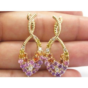 18K Yellow Orange Purple & Pink Sapphire Diamond Yellow Gold Earrings
