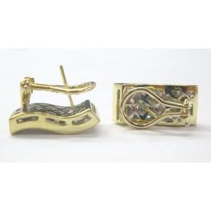 18K Yellow Gold Princess Cut Invisible Diamond Earrings