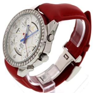 Jacob & Co. Five Time Zones Diamond Bezel Red Leather Strap Men's Watch