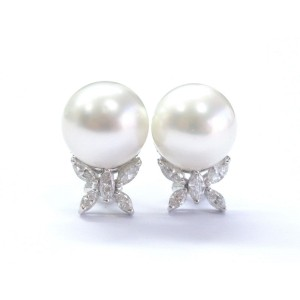 18K White Gold Pearl Diamond Stud Earrings