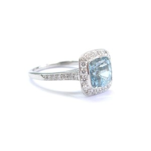Tiffany & Co Platinum Legacy Aquamarine 2.54CT Diamond Ring