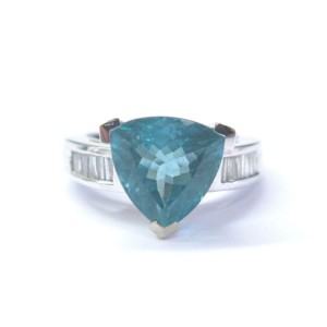 Blue Green Trillion Tourmaline Baguette Diamond White Gold Ring