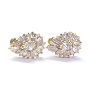 14K Yellow Gold Pear Shape & Baguette 2.90ct. Diamond Earrings & Pendant