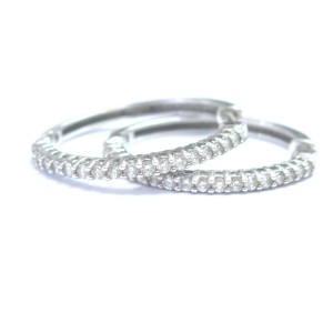 18K Diamond Prong White Gold Hoop Huggie Earrings