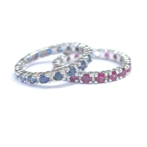 14K White Gold Fine Gem Sapphire & Ruby Eternity Band Rings