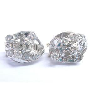 14K White Gold Fine Old Euro & Round Cut Diamond Milgrain Earrings