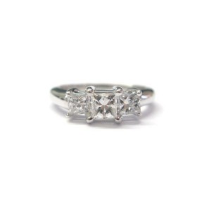 14K White Gold 0.98ct. Diamond 3-Stone Engagement Ring