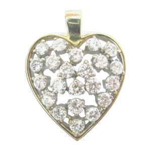 14K Yellow Gold 2.23 ct. Diamond Cluster Heart Pendant