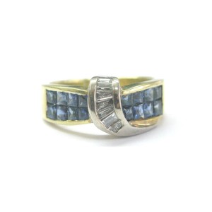 18K Yellow Gold Gem Sapphire Diamond Ring