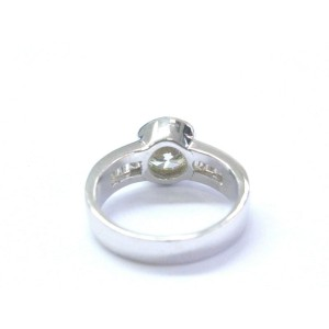 18k White Gold 1.55Ct Round & Baguette Diamond Halo Engagement Ring