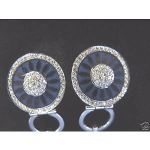 La Nouvelle Bague 18K White Gold Enamel Diamond Earring