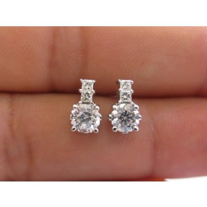 18K White Gold Octagon & Princess Cut 1.02Ct Diamond Stud Earrings