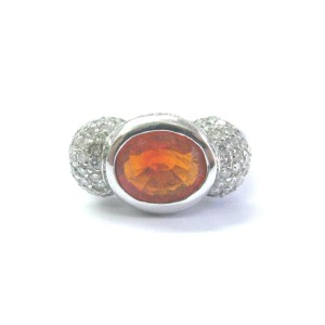 White Gold Fine Fire Opal Diamond Ring