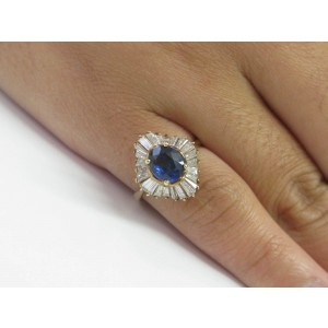 Yellow Gold Fine Gem Sapphire Diamond Ballerina Anniversary Ring