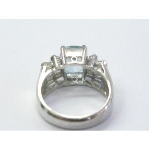 White Gold Fine Gem Aquamarine Diamond Anniversary Ring