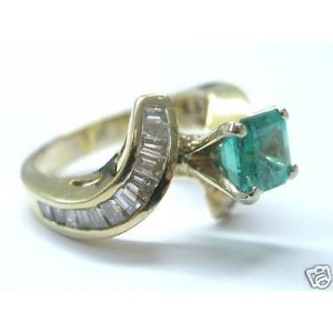 14K Gem Colombian Emerald 2.71 ct Diamond Solitaire with Accents Ring
