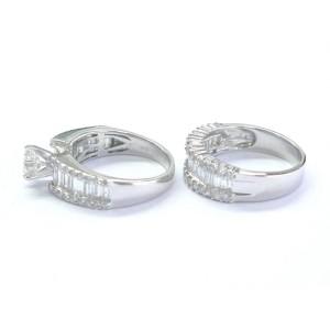 14k White Gold Round & Baguette 3.29Ct Diamond Engagement Wedding Ring