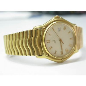 Ebel Classic Wave Day Date 18K Yellow Gold Mens Midsize Watch