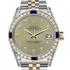 Ladies Rolex 26mm Datejust Two Tone Jubilee Champagne Color Diamond Accent dial Bezel + Lugs + Sapphire