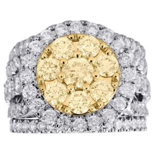 14k White Gold With 4 00ct Diamond Bridal Set 3 Piece Engagement