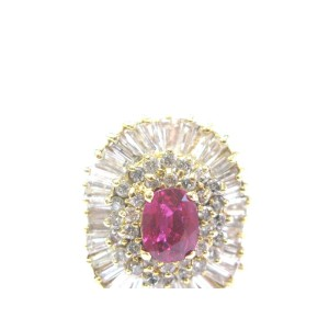 18Kt Gem AAA Ruby Diamond Ballerina Yellow Gold Ring 3.24Ct