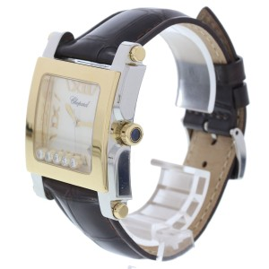 Chopard Happy Sport 8447 18K Yellow Gold/Stainless Steel & Leather Mother-of-Pearl wDiamonds 36mm Womens Watch