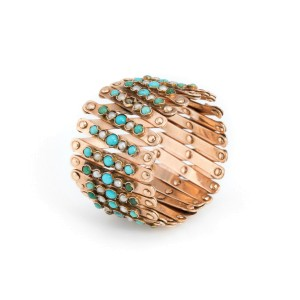 14K Rose Gold with Turquoise and Seed Cultured Pearls Expendable Bracelet