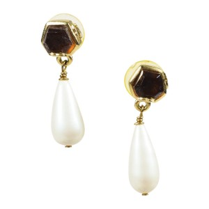 Chanel Gold Tone Hardware and Resin with Simulated Glass Pearl Faux Pearl 'CC' Drop Earrings