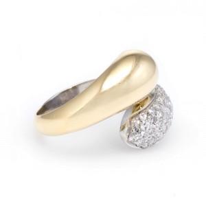 18K Yellow & White Gold 1ct Diamond Bypass Vintage Ring Size 6.25