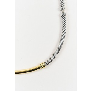 "David Yurman ""Metro"" 925 Sterling Silver and 14K Yellow Gold Cable Collar Necklace"