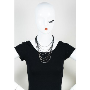 John Hardy Black Leather & Sterling Silver Multistrand Statement Necklace
