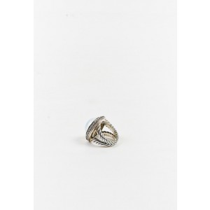 David Yurman 925 Sterling Silver with 1.00ct Diamond, Mother of Pearl and Moonstone Cerise Ring Size 6