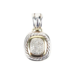 "David Yurman Albion 18K Yellow Gold and Sterling Silver with Diamond ""Two Tone Albion"" Pendant"