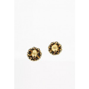 Chanel Gold Tone Simulated Glass Pearl Leather Vintage Earrings