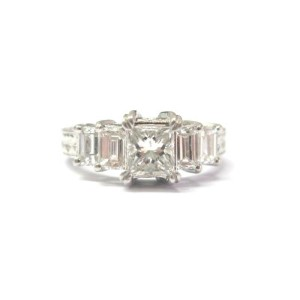 Tacori Platinum Princess & Baguette Diamond Engagement Ring 1.63CT