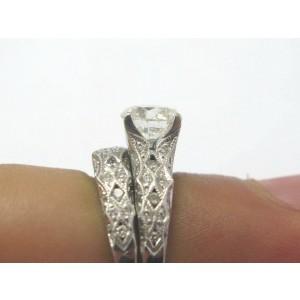 Tacori 18Kt Round Cut NATURAL Diamond Engagement SOLID White Gold Set 2.24CT