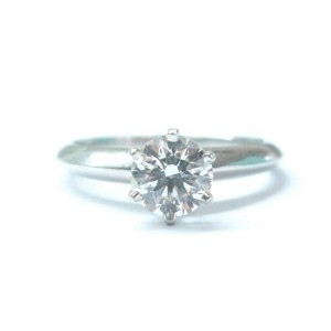 Tiffany & Co Platinum Round Diamond Solitaire Engagement Ring G-VS1 .90CT