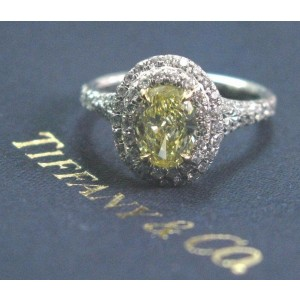 Tiffany & Co Platinum Fancy Intense Yellow Diamond Soleste Ring 1.24Ct FIY-VS1