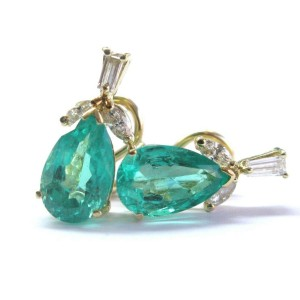 18Kt Pear Shape NATURAL Colombian Green Emerald & Diamond YG Earrings 6.74Ct