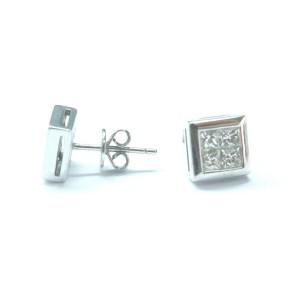 Fine Princess Cut Diamond Invisible Setting White Gold Stud Earrings 1.02Ct VS1