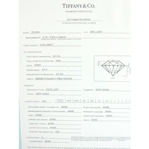 Tiffany & Co Platinum Round Diamond Solitaire Engagement Ring H-VS2 .90CT