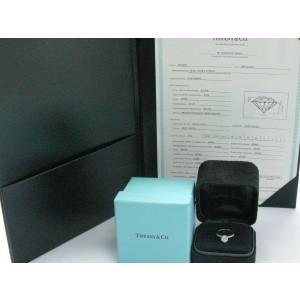 Tiffany & Co Platinum Round Diamond Solitaire Engagement Ring H-VS2 .90CT