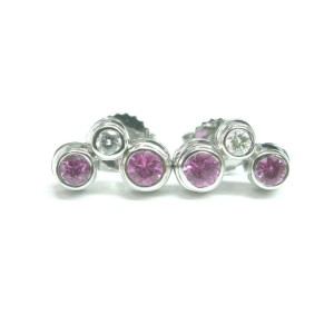 Tiffany & Co Platinum Pink Sapphire Diamond Bubble Earrings .56CT