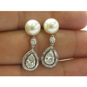 Platinum Natural Pearl & Mutli Shape Diamond Drop Earrings PT950 2.92Ct 9.5mm
